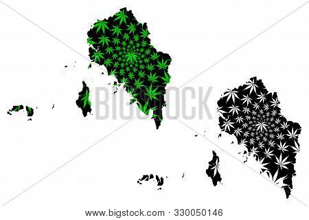 Satun Province (kingdom Of Thailand, Siam, Provinces Of Thailand) Map Is Designed Cannabis Leaf Gree