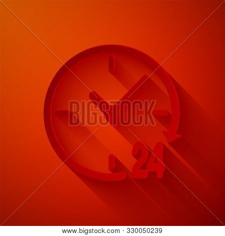 Paper cut Clock 24 hours icon isolated on red background. All day cyclic icon. 24 hours service symbol. Paper art style. Vector Illustration poster