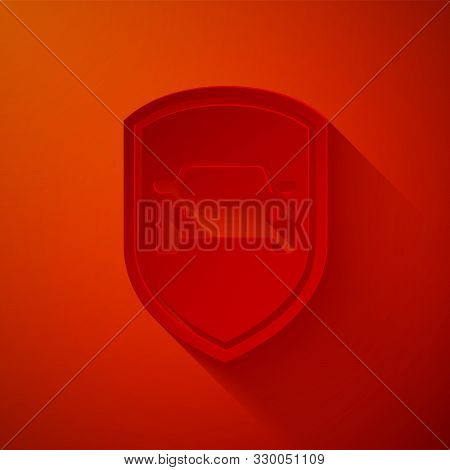 Paper cut Car protection or insurance icon isolated on red background. Protect car guard shield. Safety badge vehicle icon. Security auto label. Paper art style. Vector Illustration poster