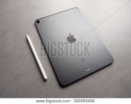 Chiang Rai, Thailand: September 12, 2019 - New Apple Pencil With Apple Ipad Pro 11 Inch 2018.