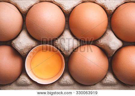 Top View And Close Up Image Of Organic Chicken Eggs Are One Of The Food Ingredients In Egg Box To Pr