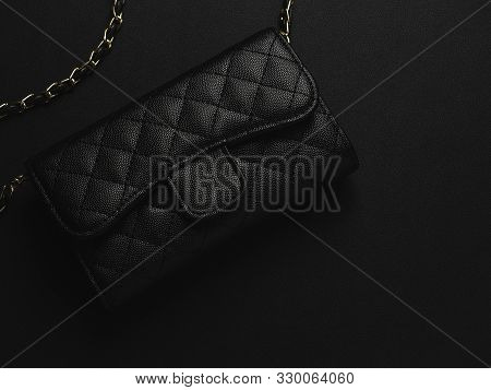 Black Leather Bag With Golden Chain