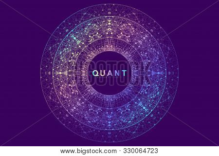 Circular Quantum Computer Technology Concept. Sphere Explosion Background. Deep Learning Artificial