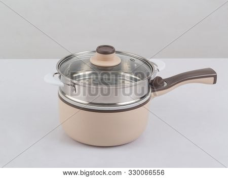 Electric Pan And Steaming Tray, Modern Kitchenware Isolated On White Background