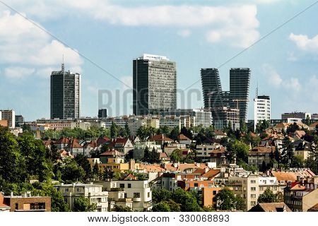 Prague.czech Republic.august 27, 2019.view Of The Old Building On The Background Of High-rise Buildi