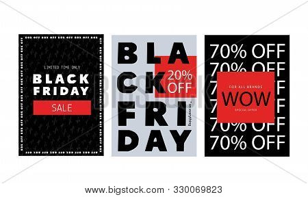 Modern Black Friday Flyer, Promo Banner In Brutalism Style, Word Background. Price Tag Badge, Simple