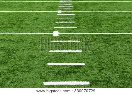 Painted White Lines On An Artificial Football Field