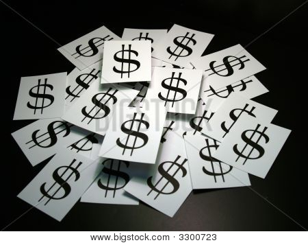 Pile Of Cards With Dollar Sign