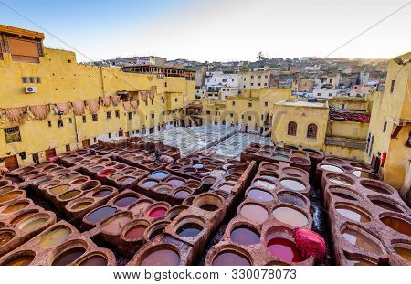 Fez, Morocco - December 15, 2018: Sightseeing Of Morocco. Tanneries Of Fez. Dye Reservoirs And Vats