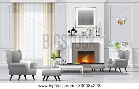 Luxury Living Room Interior Background With Fireplace And Furniture In Classic Style , Vector , Illu