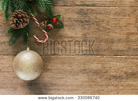 Holiday Christmas And New Year Copy Space Plank Wallpaper. Christmas Card Background With Festive De