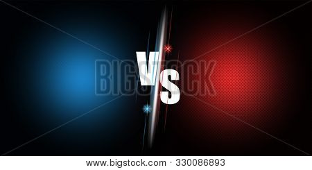 Announcement Of The Fight Between Two Rivals Versus The Bright Poster Of The Mockup Duel On A Blue A
