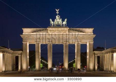 Brandenburg Gate In Berlin Illuminated After Dusk