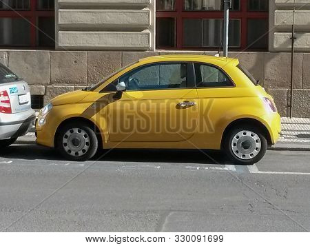 Yellow Fiat 500 Car In Prague