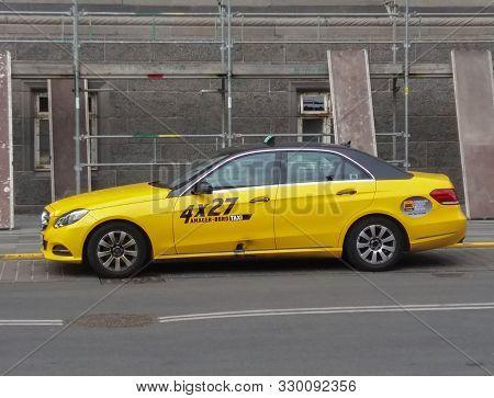Copenhagen, Denmark - Circa June 2016: Yellow Taxi Car Waiting On A Street In The City Centre