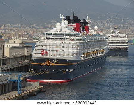 Naples, Italy - Circa June 2019: Cruise Ships At The Harbour