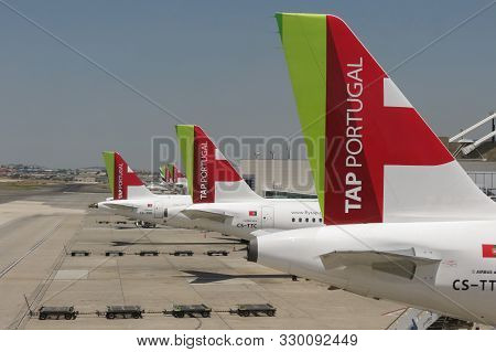 Lisbon, Portugal - Circa June 2015: Tap Air Portugal Airbus A319 And A320 Aircrafts Parked At The Ai