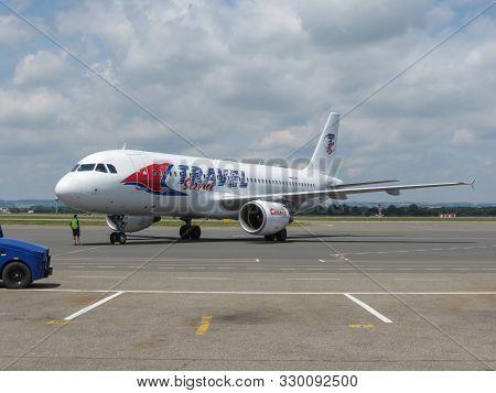 Ostrava, Czech Republic - Circa July 2017: Travel Service Airbus A320 Before Take Off