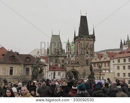 Prague, Czech Republic - Circa December 2017: Less Town Bridge Tower