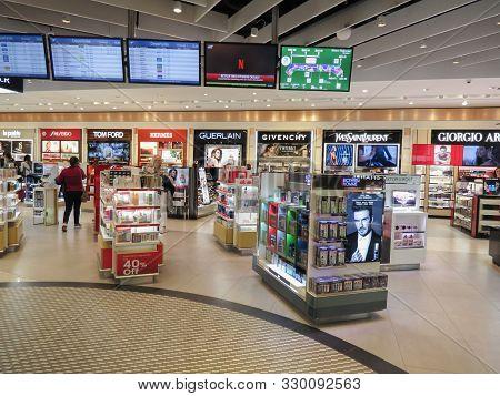 Milan Malpensa, Italy - Circa April 2019: Airport Stores