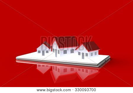 Growth Real Estate Online Concept. Group Of House On Mobile Phone. 3d Illustration.