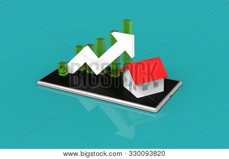Growth Real Estate Concept. Business Graph And House On Mobile Phone. 3d Illustration.