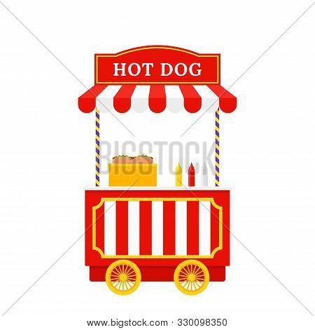 Hot Dog Cart. Vector. Hotdog Stand. Outdoor Food Shop. Circus, Carnival Kiosk Stand. Funfair Retro T