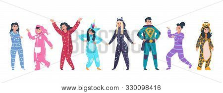 Pajamas Characters. Happy Cartoon Persons In Superhero And Animal Pajamas On Evening With Hood On Pi