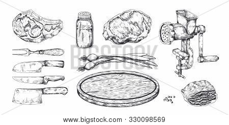 Meat Steak. Hand Drawn Pork Veal And Bacon Beef And Lamb Cookery, Butchery Food Products Sketch. Vec
