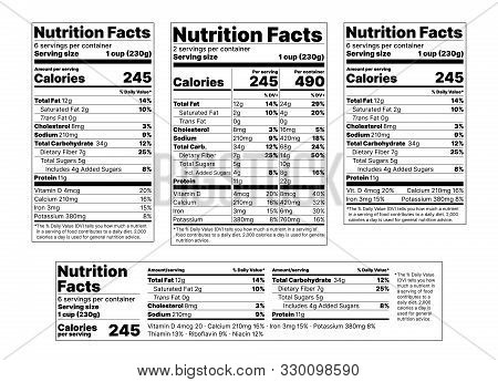 Nutrition Facts Label. Vector. Food Information With Daily Value. Package Template. Data Table Ingre