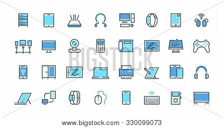 Electronic Devices Line Icons. Desktop Computer, Laptop And Smart Gadgets Outline Pictograms. Vector