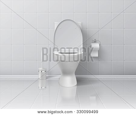 Realistic Toilet. 3d Room Interior Mockup With White Ceramic Wall And Floor, Toilet Paper Brush And