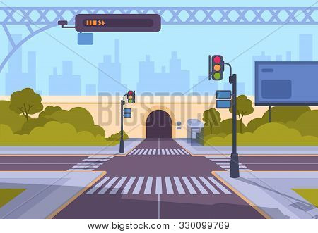 Cartoon Crosswalk. City Streets Intersections With No Automobile Traffic And Pedestrians, Urban Land