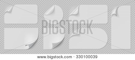 Curled Pages And Stickers. Round, Square And Rectangle Flipped Paper Page, Sticky Banners With Curle