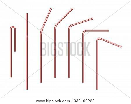Vector Realistic Drinking Straws Striped For Milk Drinks, Cocktails Or Alcohol. Set Of White-red Dri