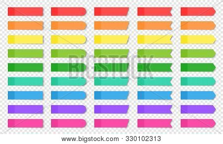 Colored Realistic Sticky Notes Isolated. Set Of Vector Paper Bookmarks Of Different Shapes - Rectang