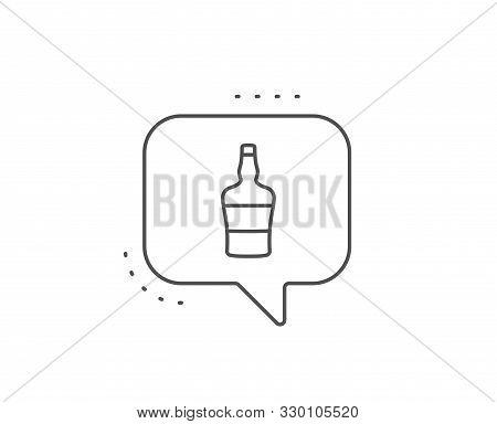 Scotch Bottle Line Icon. Chat Bubble Design. Brandy Alcohol Sign. Outline Concept. Thin Line Scotch
