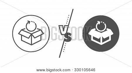 Delivery Parcel Sign. Versus Concept. Return Package Line Icon. Cargo Goods Box Symbol. Line Vs Clas