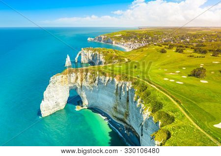 Picturesque Panoramic Landscape On The Cliffs Of Etretat. Natural Amazing Cliffs. Etretat, Normandy,