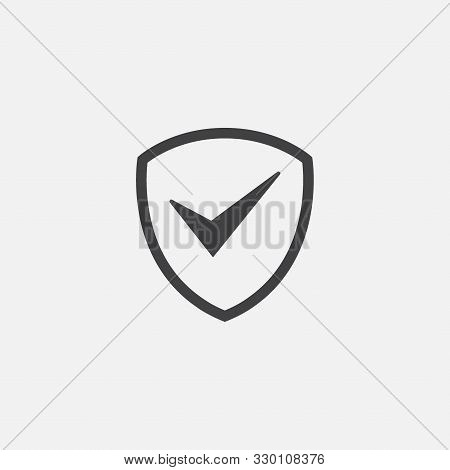Shield, Guard Icon Vector, Shield With Check Mark Linear Logo Illustration, Shield And Check Mark Li