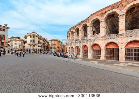 Verona, Italy - 02 May 2019: Panoramic View Of Central Square And Arena Verona, Roman Amphitheater.