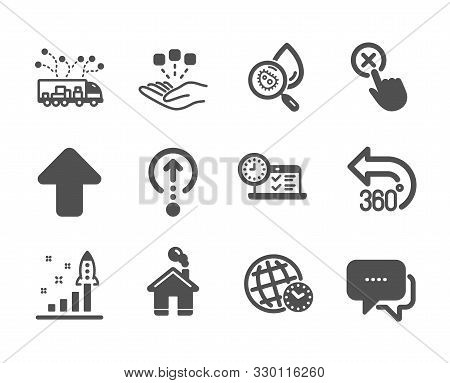 Set Of Technology Icons, Such As Swipe Up, Home, Reject Click, Development Plan, Time Zone, Upload,