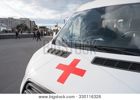 Russia, Moscow - September 21, 2019.the Ambulance Austrian Red Cross On The Teachings Of The Ministr