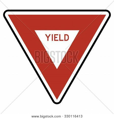 Yield Sign Road Traffic Symbol Vector Illustration. Red, Black, White.