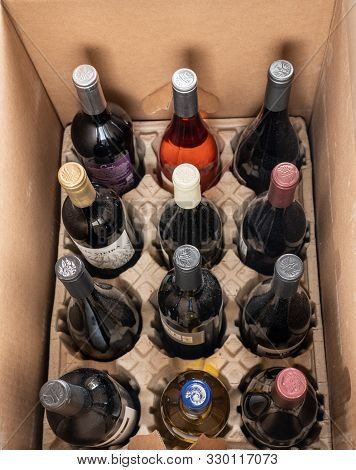 Morgantown, Wv - 25 October 2019: Delivery Carton From Naked Wines With Dozen Mixed Red And White Wi