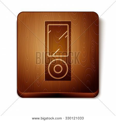 Brown Music Player Icon Isolated On White Background. Portable Music Device. Wooden Square Button. V