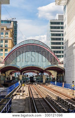 Canary Wharf London. 23 May 2019. A View Of The Dlr Station Of Canary Wharf In London