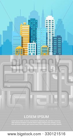 Urban Canalization Colorful Poster With Pipeline System Under City. Vector Illustration