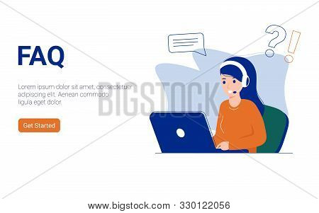 Faq And Q A Flat Vector Ilustration Concept, Online Support Center Via Smartphone And Laptop. Can Us