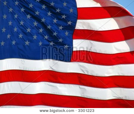 The United States of America flag blowing in the wind. poster